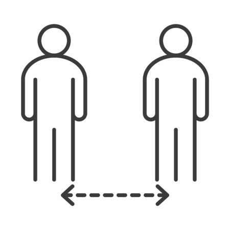 covid 19 coronavirus social distancing, people keeping distance for infection risk, outbreak spreading vector illustration line style icon