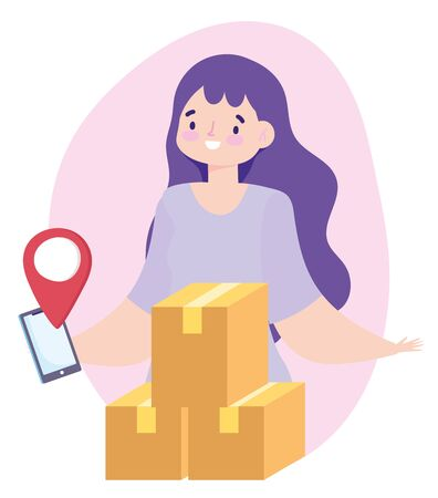 safe delivery at home during coronavirus covid-19, woman with smartphone and packages vector illustration Vectores