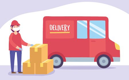 safe delivery at home during coronavirus covid-19, courier man wearing mask with boxes and truck transport vector illustration Vectores