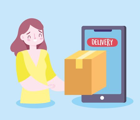 safe delivery at home during coronavirus covid-19, customer receiving order smartphone service app vector illustration