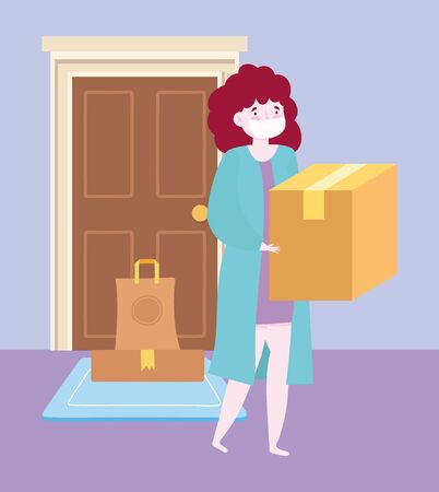 safe delivery at home during coronavirus covid-19, woman carrying box and order in door vector illustration