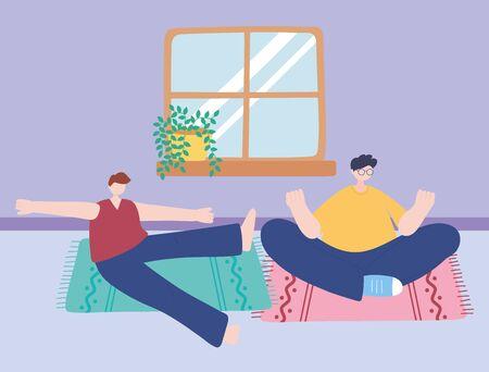 stay at home, men meditation pose yoga in room, self isolation, activities in quarantine for coronavirus vector illustration