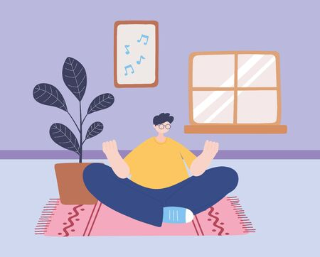 stay at home, man in yoga meditation pose in the room, self isolation, activities in quarantine for coronavirus vector illustration