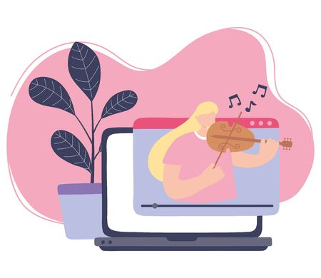 stay at home, girl playing fiddle online concert, self isolation, activities in quarantine for coronavirus vector illustration