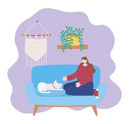stay at home, girl with cat sitting on sofa, self isolation, activities in quarantine for coronavirus vector illustration Illusztráció