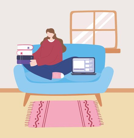 stay at home, girl with laptop and stack of books on sofa, self isolation, activities in quarantine for coronavirus vector illustration 일러스트