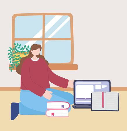 stay at home, girl with laptop and books in room, self isolation, activities in quarantine for coronavirus vector illustration