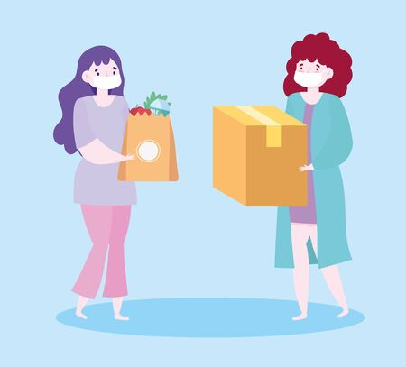 safe delivery at home during coronavirus covid-19, customer women wearing masks and grocery bag and box vector illustration Vectores