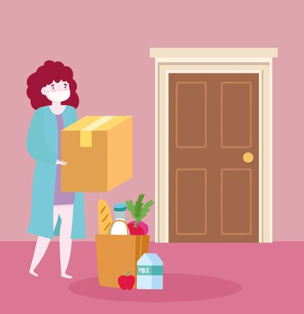 safe delivery at home during coronavirus covid-19, young woman with mask grocery bag food and box vector illustration