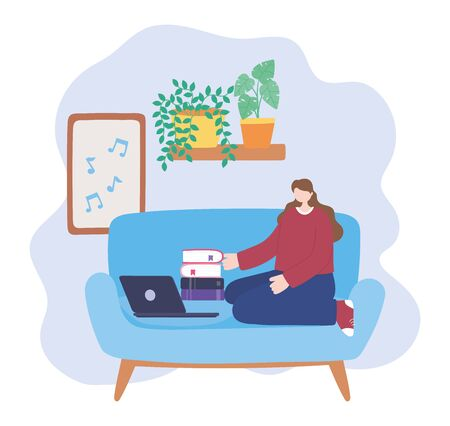 stay at home, girl with laptop and stack of books in room, self isolation, activities in quarantine for coronavirus vector illustration