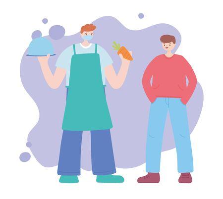 thank you essential workers, farmer with carrot platter and customer man, wearing face mask, coronavirus covid 19 disease vector illustration Ilustração