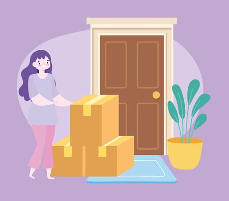 safe delivery at home during coronavirus covid-19, female customer with cardboard boxes in door vector illustration Vectores