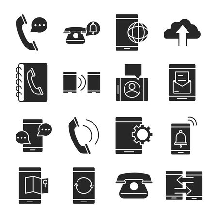 mobile phone or smartphone electronic technology device silhouette style icons set vector illustration