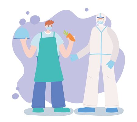 thank you essential workers, doctor and farmer professional character, wearing face masks, coronavirus covid 19 disease vector illustration