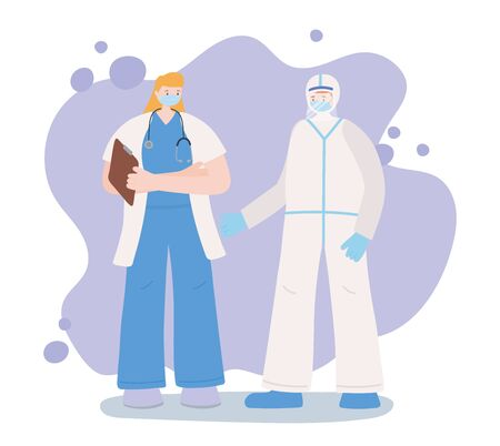 thank you essential workers, staff medical with protective suit, wearing face masks, coronavirus covid 19 disease vector illustration
