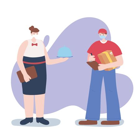 thank you essential workers, waitress and delivery man, wearing face masks, coronavirus covid 19 disease vector illustration