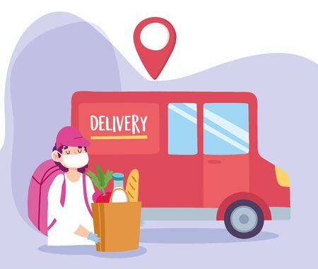 safe delivery at home during coronavirus covid-19, man with mask and grocery bag truck vector illustration