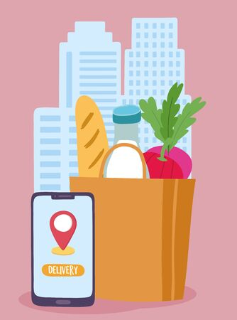 safe delivery at home during coronavirus covid-19, order food online smartphone vector illustration
