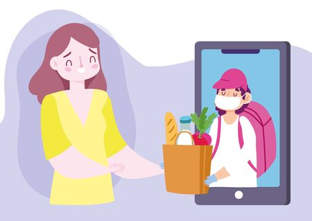 safe delivery at home during coronavirus covid-19, young woman with smartphone order online food market vector illustration