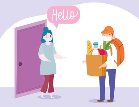 safe delivery at home during coronavirus covid-19, courier man carrying bag with food and woman customer vector illustration