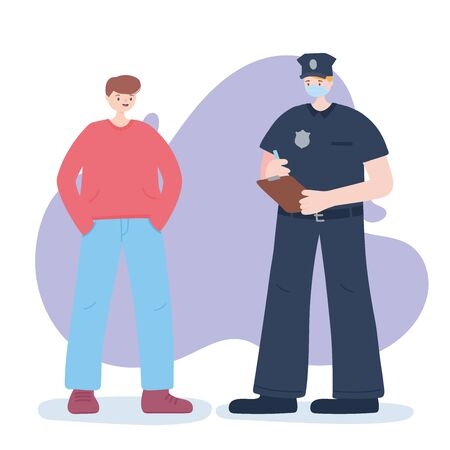 thank you essential workers, policeman and boy, wearing face mask, coronavirus covid 19 disease vector illustration 向量圖像