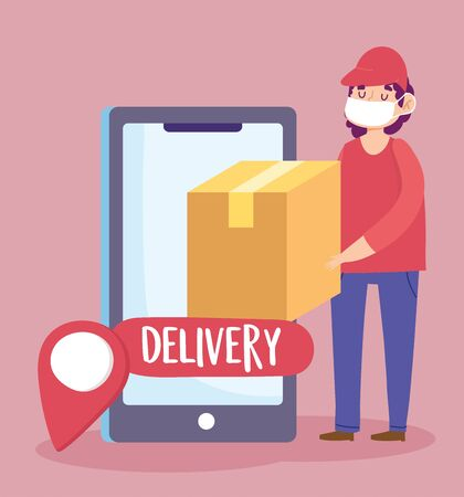 safe delivery at home during coronavirus covid-19, courier man carrying cardboard box smartphone navigation pin vector illustration Vectores