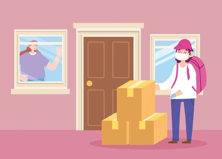 safe delivery at home during coronavirus covid-19, courier man with mask and stack boxes, customer looking out the window vector illustration