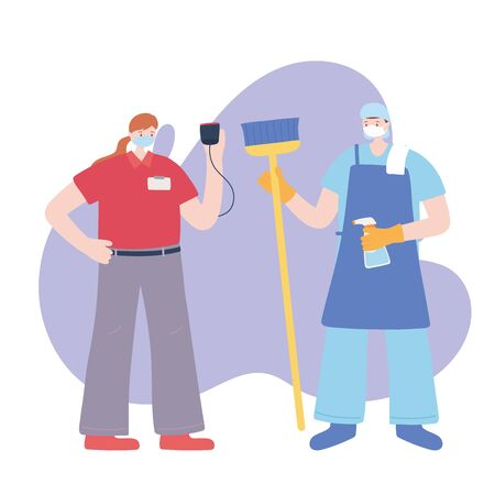 thank you essential workers, cleaner man and delivery woman wearing face masks, various occupations, coronavirus covid 19 disease vector illustration 向量圖像