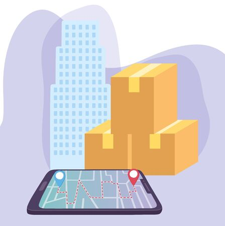 safe delivery at home during coronavirus covid-19, smartphone gps navigation cardboard boxes city vector illustration