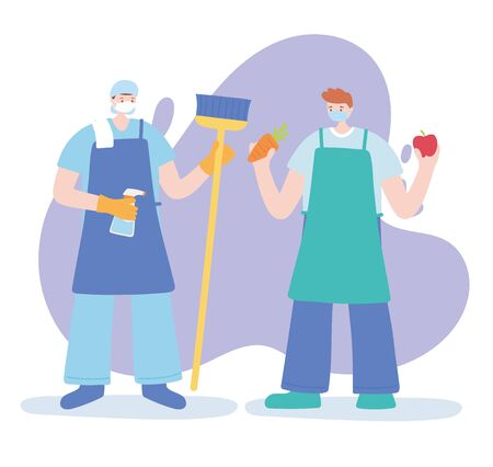 thank you essential workers, cleaner and farmer characters wearing face masks, coronavirus covid 19 disease vector illustration 向量圖像