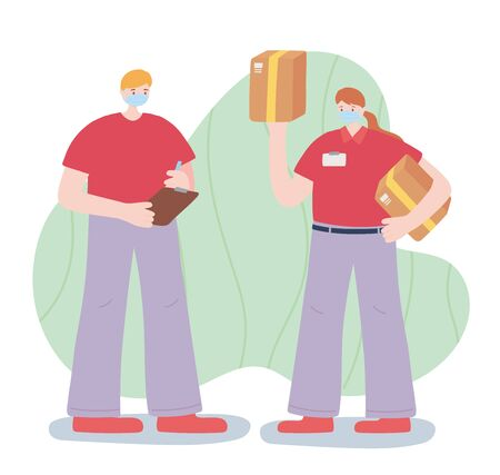 thank you essential workers, delivery man and woman with boxes, face masks, coronavirus covid 19 disease vector illustration