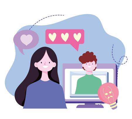 young couple romantic video call computer screen design image vector illustration