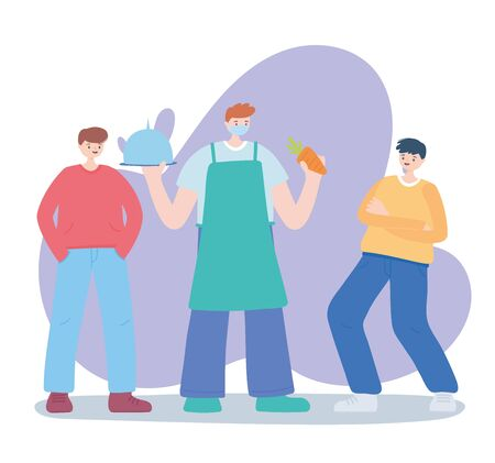 thank you essential workers, farmer with platter carrot and young men, coronavirus covid 19 disease vector illustration
