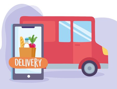 safe delivery at home during coronavirus covid-19, smartphone order food and truck transport vector illustration Vectores