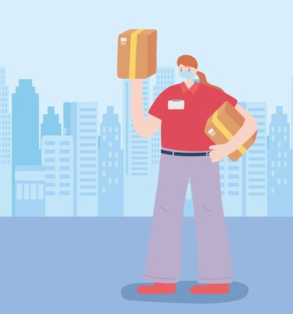 thank you essential workers, delivery woman with boxes, wearing face mask, coronavirus covid 19 disease vector illustration