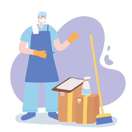 thank you essential workers, cleaner man with brom spray and boxes, wearing face mask, coronavirus covid 19 disease vector illustration 向量圖像