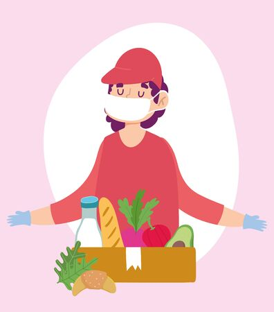safe delivery at home during coronavirus covid-19, courier man with mask gloves and grocery box with food vector illustration