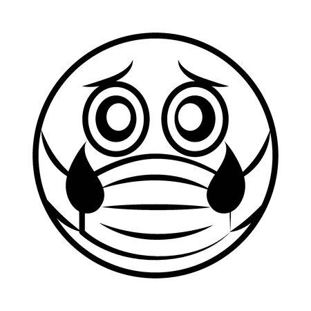 emoticon sad with medical mask coronavirus covid-19 pandemic, line cartoon style vector illustration Vectores