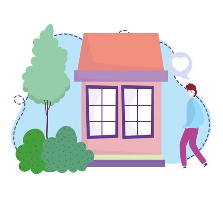 young man with protective mask house stay at home coronavirus covid 19 vector illustration Vectores