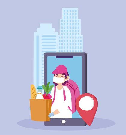 safe delivery at home during coronavirus covid-19, courier man with mask smartphone order grocery vector illustration