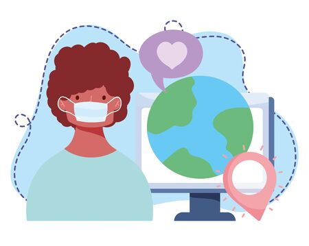 online training, boy with medical mask world computer, courses knowledge development using internet vector illustration