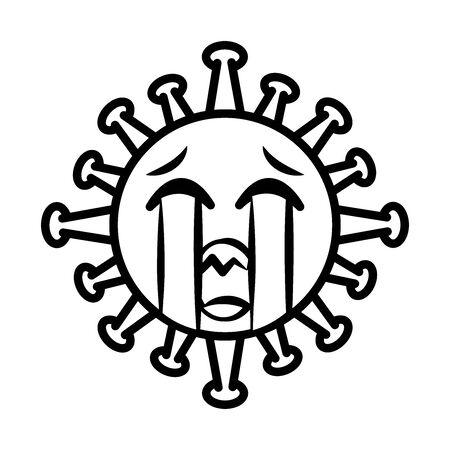 virus emoticon, covid-19 emoji character infection, face sad line cartoon style vector illustration