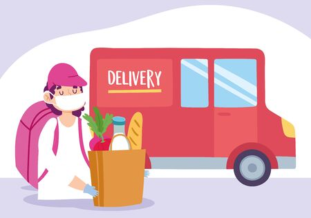 safe delivery at home during coronavirus covid-19, courier man with market bag and truck vector illustration Vectores