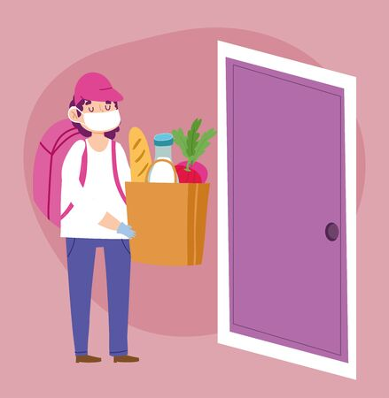safe delivery at home during coronavirus covid-19, courier man with medical mask and market bag with food in door vector illustration
