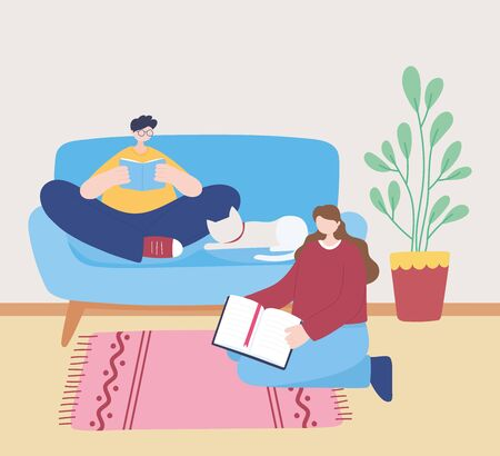 stay at home, girl and boy reading book on sofa with cat, self isolation, activities in quarantine for coronavirus vector illustration