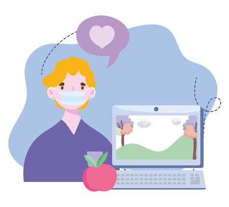 online training, boy with mask computer video class, courses knowledge development using internet vector illustration