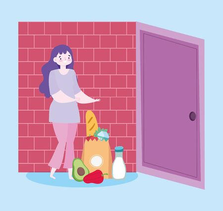 safe delivery at home during coronavirus covid-19, woman with grocery bag food in door home vector illustration Vectores