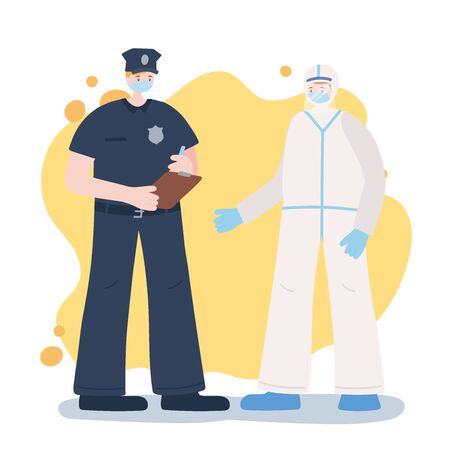 thank you essential workers, policeman and doctor wearing face masks, coronavirus covid 19 disease vector illustration
