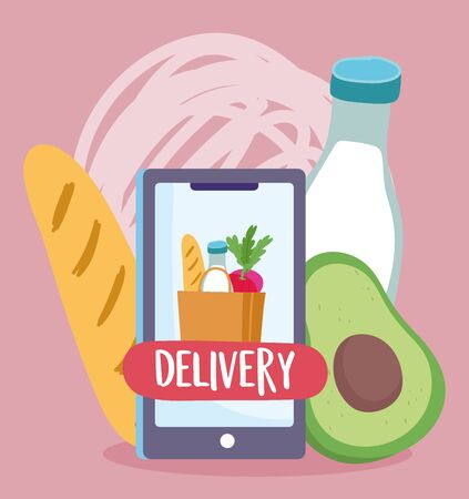 safe delivery at home during coronavirus covid-19, smartphone order food grocery bag vector illustration