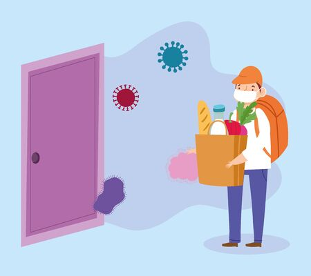 safe delivery at home during coronavirus covid-19, boy carrying grocery bag in door house cartoon vector illustration Vectores